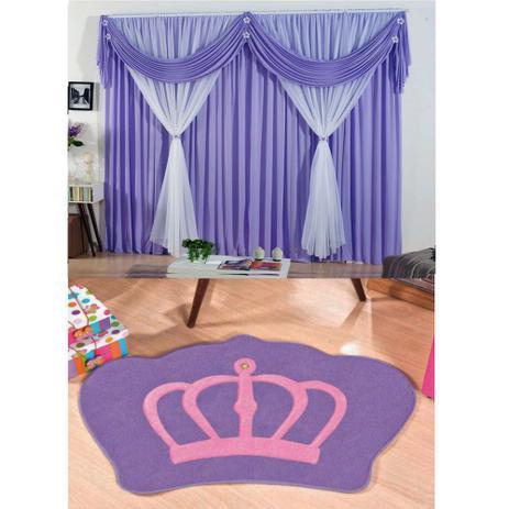 Imagem de Kit Decoração p/ Quarto Infantil = Cortina Jéssica 2 Metros + Tapete Pelúcia Coroa Real - Lilás