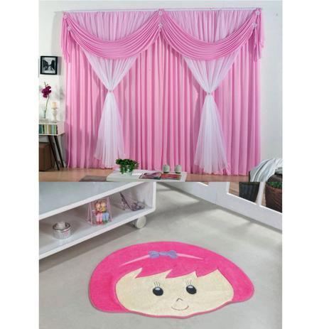 5820a5fd1 Kit Decoração p  Quarto Infantil   Cortina Jéssica 2 Metros + Tapete  Pelúcia Menina Laço - Rosa Pink - Guga tapetes