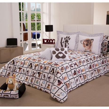 7d95c486f3 Kit Edredom Casal Queen Pet Lovers 06 Peças - Deccoralle - Enxoval ...
