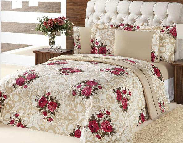 51c410df68 Kit Edredom (Edredom + Jogo de Cama) Queen Murano Bouquet Vermelho Flores  Vermelhas com 7 peças - Aquarela