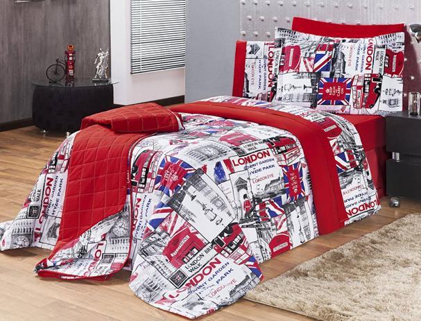 8fa961b79f Kit Edredom Estampado 150 Fios Solteiro London 03 Peças - Vermelho - Vilela  enxovais