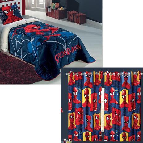 05b968f3cf Kit Edredom Homem Aranha Cortina Jogo de Cama 2pç Spider Man - Lepper