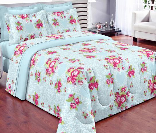 12db37f905 Kit Edredom + Jogo de Cama Casal Padrão Florence 07 Peças - Azul - Borda  bordados enxovais