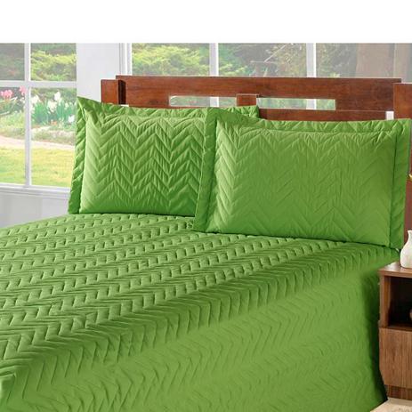 4d16cd012e Kit Edredom + Lençol Chevron Matelado Casa Dona Queen 4 peças Verde ...
