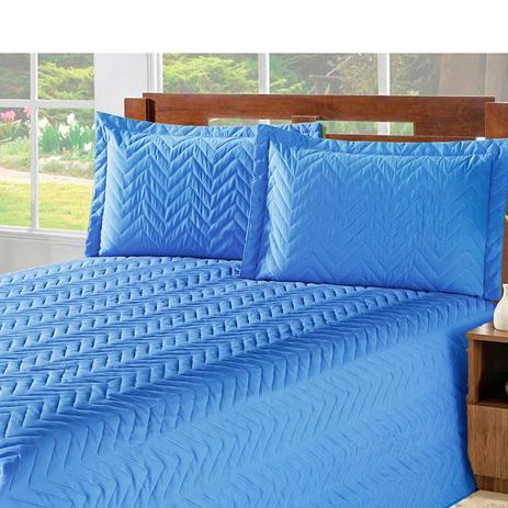 Imagem de Kit Edredom + Lençol Chevron Matelado Casa Dona Solteiro 3 peças Azul