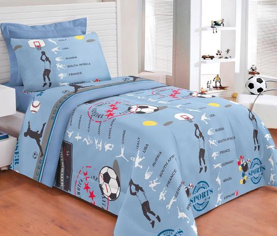 b2002a15f5 Kit Edredom Solteiro + Jogo de Cama Sports 100 Algodão 05 Peças - Azul - Borda  bordados enxovais