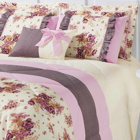 bce0fdac7d Kit Edredom Vitoria King Palha e Rosa com Porta Travesseiro Floral com 7  peças - Aquarela