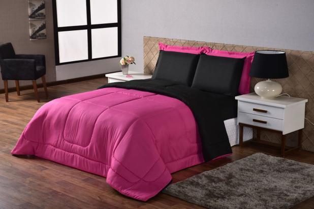 Imagem de Kit Edredon Ternura Casal Queen 6 Peça Pink Preto Dupla Face