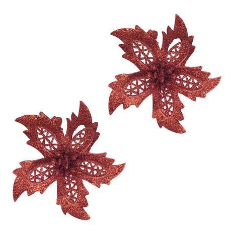 Imagem de Kit enfeite de arvore flor c/ glitter 11cm x 2pcs - niazitex