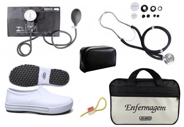 4f61b39de Kit Enfermagem: Aparelho de Pressão com Estetoscópio Rappaport Preto Premium  + Sapato Branco + Garrote JRMED + Bolsa - Várias