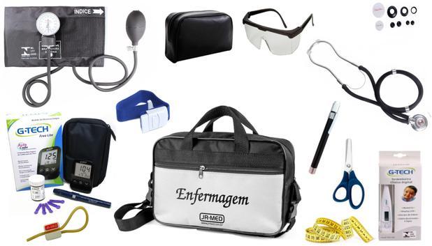 Imagem de Kit Enfermagem Aparelho Pressão com Estetoscópio Duplo Rappaport Premium Cores Completo + Medidor de Glicose - G-Tech + Bolsa JRMED