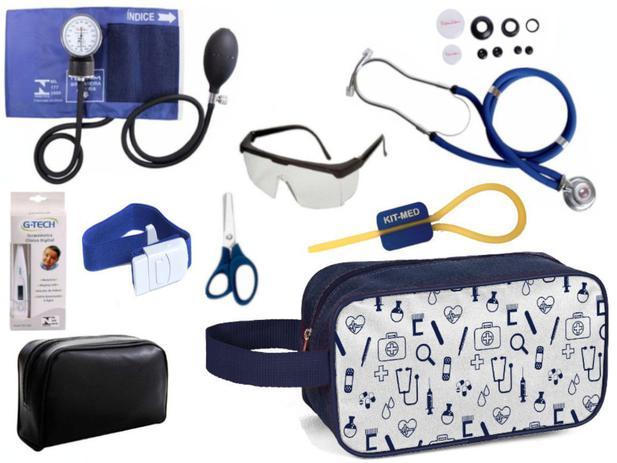 Imagem de Kit Enfermagem Aparelho Pressão com Estetoscópio Premium Vinho Completo + Necessaire