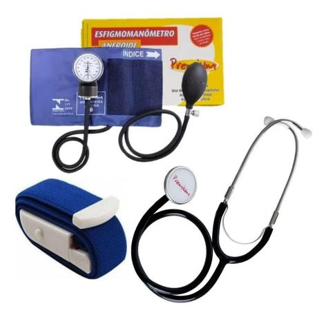 Imagem de Kit Enfermagem Esfigmomanometro Aparelho De Pressão + Esteto + Garrote - Premium