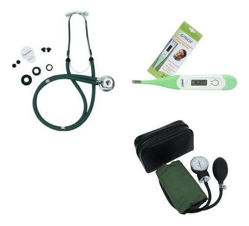 Imagem de Kit Enfermagem Esfigmomanometro + Esteto Duplo + Termometro