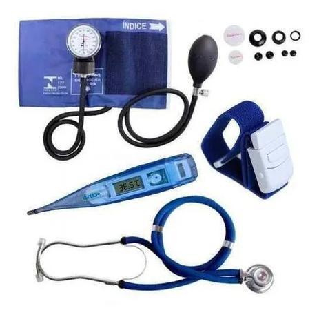 Imagem de Kit Enfermagem Esfigmomanômetro Esteto Garrote Termometro
