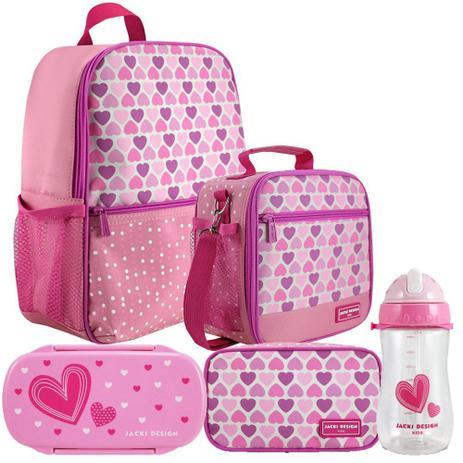 5f7c24ae8 Kit Escolar Infantil Feminino Rosa Claro Mochila + Lancheira + Marmita +  Estojo + Squeeze - Jacki Design