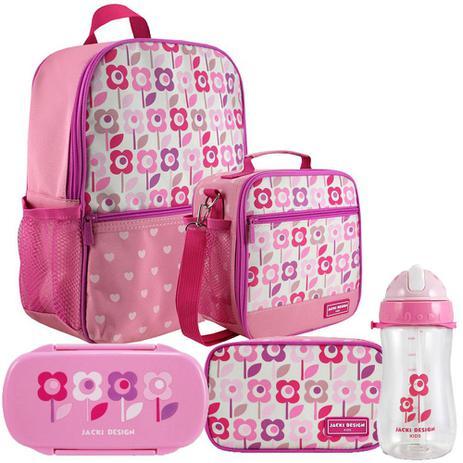 b78f6b1b9 Kit Escolar Infantil Feminino Rosa Mochila + Lancheira + Marmita + Estojo +  Squeeze - Jacki Design
