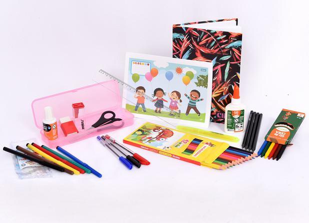 Imagem de Kit escolar infantil rosa - 20 peças