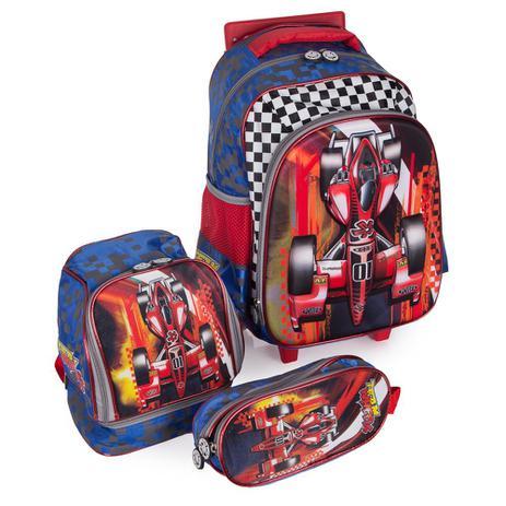 a6efb5bb0 Kit Escolar Mochila Infantil com Rodinhas + Lancheira + Estojo Carro Swiss  Move Team Wheels 3D Azul