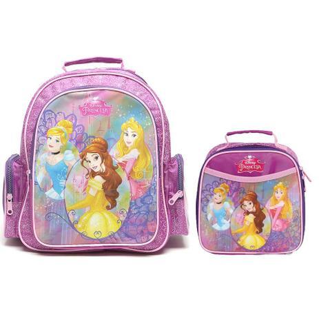 7ef8a3191 Kit Escolar Mochila M + Lancheira Dermiwil Disney Princesas Roxo ...