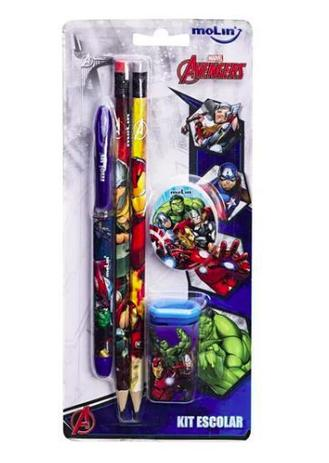 Imagem de Kit escolar MOLIN marvel avengers c/ 5 itens