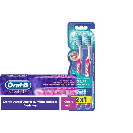 f9266d1ab Kit Escova Dental Oral-B 3D White Advantage 35 Leve 2 Pague 1 + 6 Cremes  Dentais Oral-B 3D White Bri - Oral b