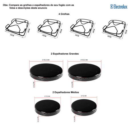 Imagem de Kit espalhadores + grelhas p/ fogões electrolux 4 bocas 52 srb