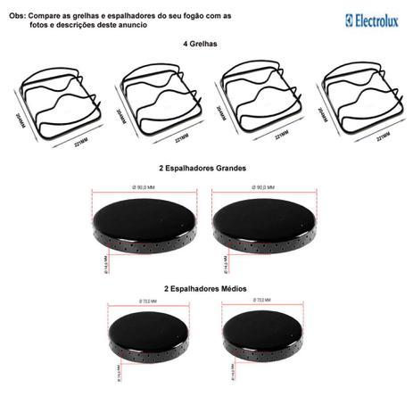 Imagem de Kit espalhadores + grelhas para fogões electrolux 4 bocas 52 rxl