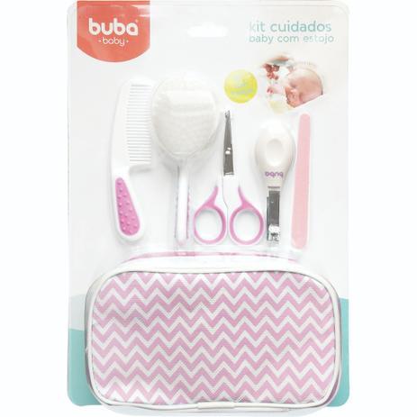 Imagem de Kit Estojo Cuidados Baby Buba Escova Com Cerdas Macias Rosa