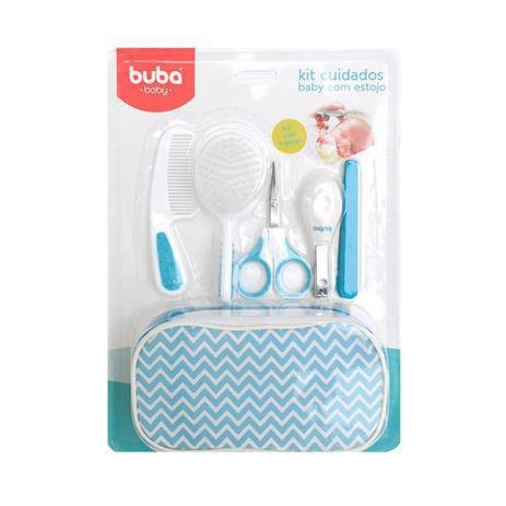 Imagem de Kit Estojo Cuidados Baby Escova Com Cerdas Macias Azul 7285 - Buba Baby
