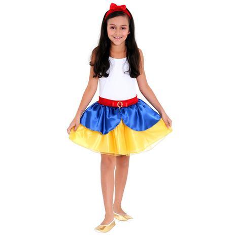 62d49ec86329a3 Kit fantasia infantil branca de neve - saia e tiara tam. m sulamericana