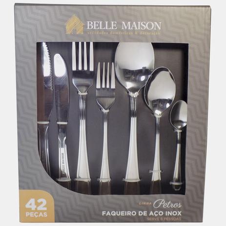 Imagem de Kit Faqueiro 42 peças de 3mm Aço Inox  Linha Petros  Belle Maison