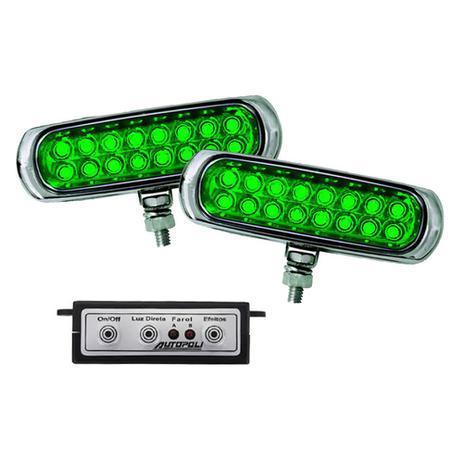 Imagem de Kit Farol Auxiliar Estrobo Verde Autopoli Retangular Capa cromada 12V / 24V 16 LEDs - 9 Efeitos