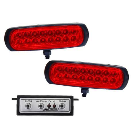 Imagem de Kit Farol Estrobo Vermelho Autopoli Retangular Capa preta 12V / 24V 16 LEDs - 9 Efeitos
