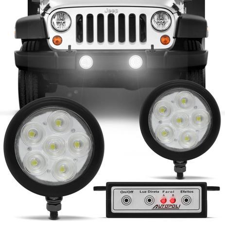 Imagem de Kit Farol Milha Auxiliar Universal Strobo Safety Car 6 LEDs 12V Efeito Xênon Luz Branca Autopoli