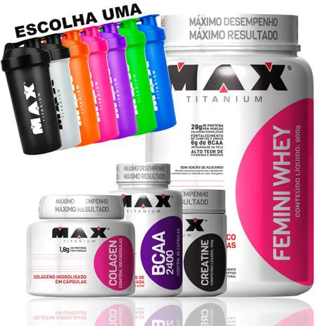644df4892 Kit Feminino Academia Whey Creatina Bcaa Colagen Coq Max Tit - Max titanium