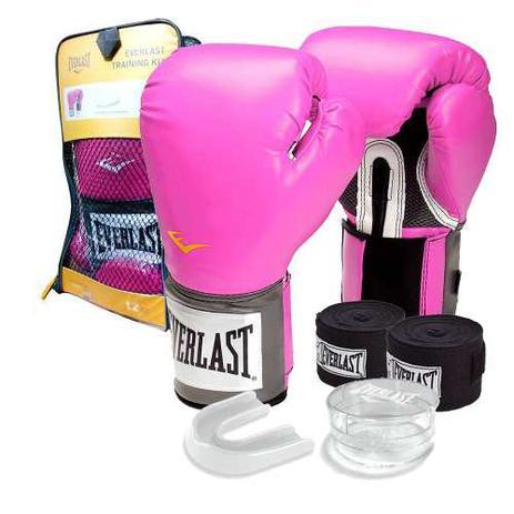 b1048de7d Kit Feminino rosa - Boxe   Muay Thai   Kickboxing - Luva 10 Oz + bandagem +  protetor bucal - Everlast