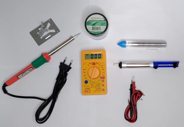 Imagem de Kit Ferro de Solda 220V Multímetro Digital sugador Pasta de solda e Estanho 25g