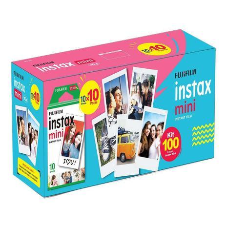 Imagem de Kit Filme instantâneo Instax Mini Fujifilm Pacote Com 100 Filmes Coloridos Com Bordas Brancas