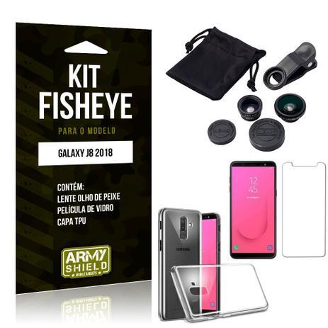 f3c175dacf Kit Fisheye Samsung Galaxy J8 Lente Fisheye + Capa + Película de Vidro -  Armyshield
