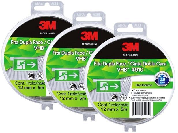 Imagem de Kit Fita Dupla Face 3M Transparente VHB 4910 Com Estojo 12MMX5M 3 Unidades