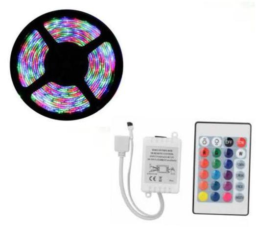 Imagem de Kit Fita LED 3528 Para Sanca 10M Colorido: 2 rolos de 5 Metros, 1 Fonte 5 Ampéres e 1 Emenda Amplificadora