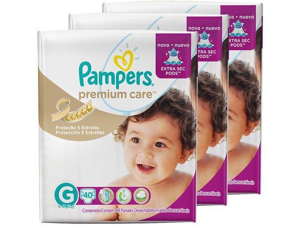 Kit Fraldas Pampers Premium Care Mega Tam G - 3 Pacotes  com 40 Unidades Cada