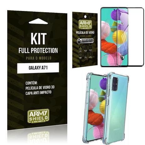 Imagem de Kit Full Protection Galaxy A71 Película de Vidro 3D + Capa Anti Impacto - Armyshield