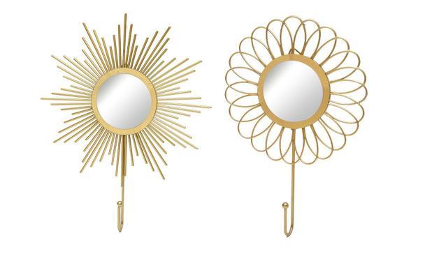 Imagem de Kit Gancho Metalico Com Espelho. Cor Dourado - Kit C 2