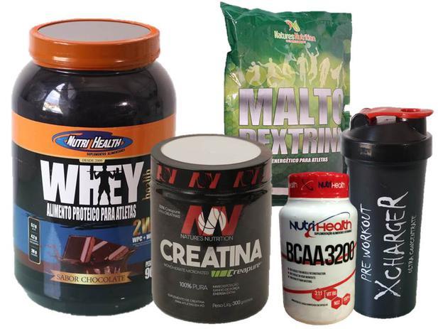6603c2bdc Kit Ganho de Massa Muscular - Whey Health 900g + creatina 150g + malto  dextrina + bcaa 120 caps + coqueteleira - Nutrihealth suplementos