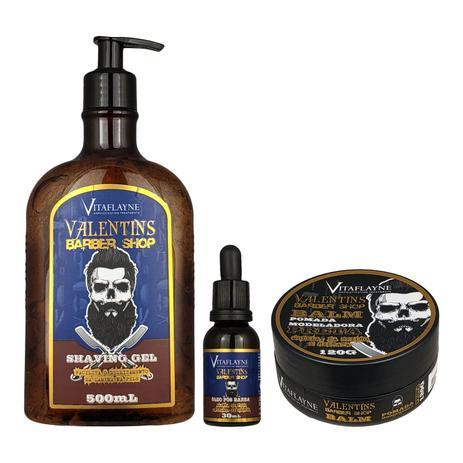 e3bcdb986 Kit Gel Shaving 500ml Óleo Pós Barba 30ml e Pomada Modeladora Balm Preta  120g - Vitaflayne