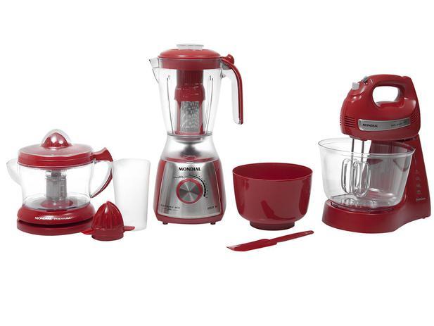 Kit Gourmet Red Premium Mondial - com Liquidificador Batedeira Espremedor - 110V