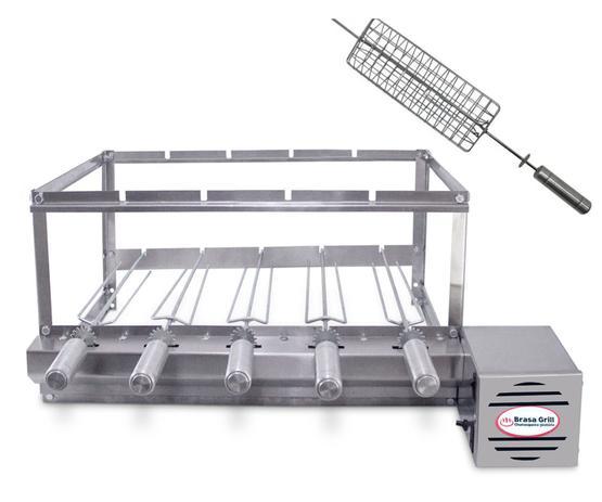 Imagem de Kit Grill Inox 5 Espetos Bivolts (Lado Direito) + Espeto Grelha