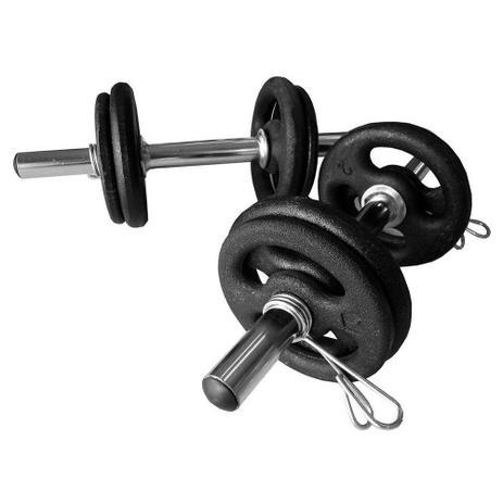 b2ae592d1 Kit Halter Musculação Peso Completo Anilhas Barras Presilhas - Natural  fitness